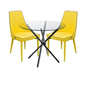 Brookhn Circular Dining Set with 2 Chairs Metro Lane Colour (Table Base): Black, Colour (Chair): Yellow