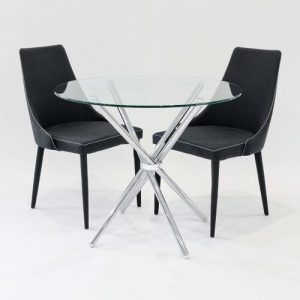 Brookhn Circular Dining Set with 2 Chairs Metro Lane Colour (Table Base): Chrome, Colour (Chair): Black