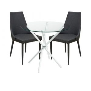 Brookhn Circular Dining Set with 2 Chairs Metro Lane Colour (Table Base): White, Colour (Chair): Charcoal