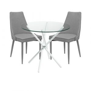 Brookhn Circular Dining Set with 2 Chairs Metro Lane Colour (Table Base): White, Colour (Chair): Grey