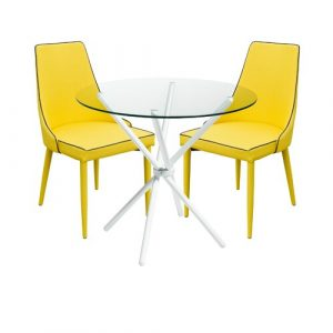 Brookhn Circular Dining Set with 2 Chairs Metro Lane Colour (Table Base): White, Colour (Chair): Yellow