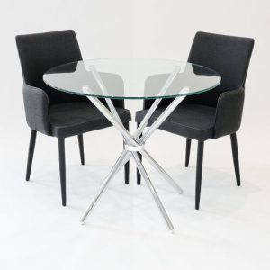 Brosnan Circular Dining Set with 2 Chairs Metro Lane Colour (Table Base): Chrome, Colour (Chair): Black