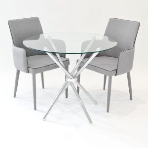 Brosnan Circular Dining Set with 2 Chairs Metro Lane Colour (Table Base): Chrome, Colour (Chair): Grey