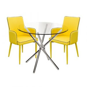 Brosnan Circular Dining Set with 2 Chairs Metro Lane Colour (Table Base): Chrome, Colour (Chair): Yellow