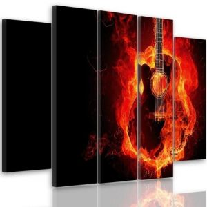 Burning Guitar - 5 Piece Wrapped Canvas Graphic Art Print Set Feeby Size: 70 cm H x 100 cm W x 3 cm D