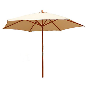 Charles Bentley 2.4M Cream Wooden Garden Parasol