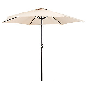 Charles Bentley 2.7M Cream Garden Parasol With Crank And Tilt