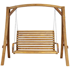Charles Bentley 3 Seater Wooden Garden Swing Chair
