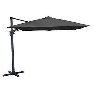 Charles Bentley 3.5M Grey Premium Cantilever Garden Parasol With Crank And Tilt