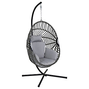 Charles Bentley Grey Egg Shaped Garden Swing Chair