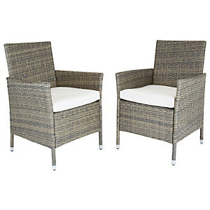 Charles Bentley Rattan Garden Natural Dining Chairs