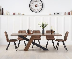 Chateau 180cm Black Leg Dining Table with Dexter Faux Leather Dining Chairs - Brown, 6 Chairs