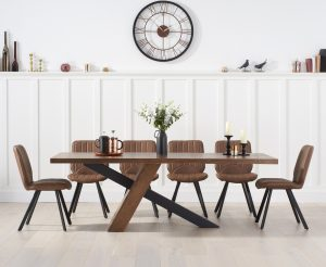 Chateau 225cm Black Leg Dining Table with Dexter Faux Leather Dining Chairs - Brown, 6 Chairs