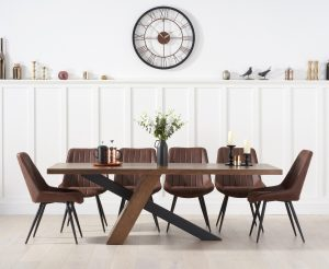 Chateau 225cm Black Leg Dining Table with Marcel Antique Dining Chairs - Mink, 6 Chairs
