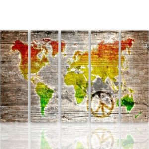 'Colour Pacifist World Map' - 5 Piece Wrapped Canvas Graphic Art Print Set Feeby Size: 100cm H x 200cm W x 3cm D