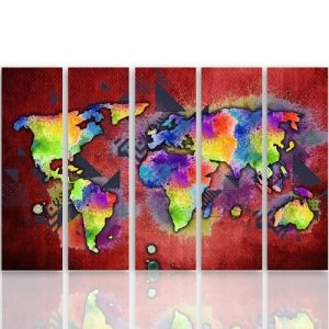 'Coloured Map of the World' - 5 Piece Wrapped Canvas Graphic Art Print Set Feeby Size: 100cm H x 200cm W x 3cm D