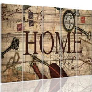 Composition Vintage Home - 5 Piece Wrapped Canvas Graphic Art Print Set Feeby Size: 70 cm H x 100 cm W x 3 cm D