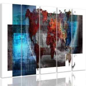 'Composition with a World Map' - 5 Piece Wrapped Canvas Graphic Art Print Set Feeby Size: 100cm H x 200cm W x 3cm D