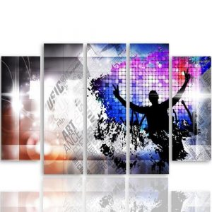 Dance Art - 5 Piece Wrapped Canvas Graphic Art Print Set Feeby Size: 140 cm H x 300 cm W x 3 cm D
