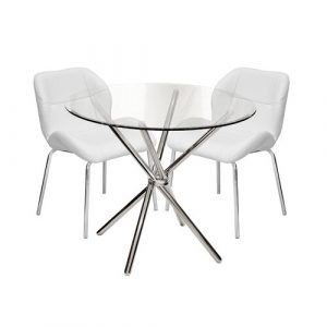 Dereham Dining Set with 2 Chairs Metro Lane Colour (Table Base): Chrome, Colour (Chair): White