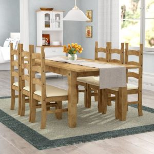 Dodge Extendable Dining Set with 6 Chairs Union Rustic