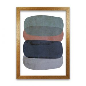 Earth Tones Soft Abstract Shapes - Graphic Art Print on Paper Norden Home Frame Option: Oak Frame, Size: 42cm H x 30cm W x 3cm D
