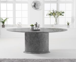Ex-display Colby 200cm Grey Oval Marble Dining Table