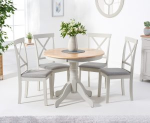 Ex-display Epsom 90cm Oak and Grey Dining Table with TWO Chairs with Fabric Seats