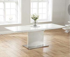 Ex-display Hailey 160cm White High Gloss Extending Dining Table