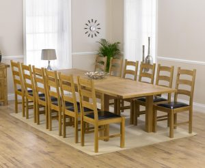 Ex-display Normandy 220cm Solid Oak Extending Dining Table with 6 OAK Vermont Chairs