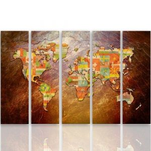 'Flags on a World Map' - 5 Piece Wrapped Canvas Graphic Art Print Set Feeby Size: 100cm H x 150cm W x 3cm D