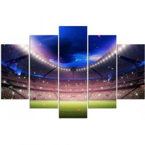 Football Stadium - 5 Piece Wrapped Canvas Graphic Art Print Set Feeby Size: 100 cm H x 200 cm W x 3 cm D