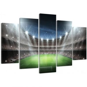 Football Stadium in the Spotlight - 5 Piece Wrapped Canvas Graphic Art Print Set Feeby Size: 100 cm H x 150 cm W x 3 cm D