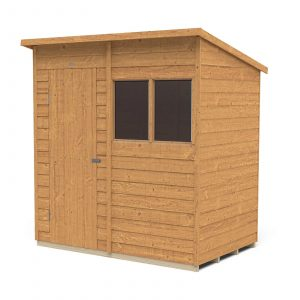Forest Garden 6 x 4ft Overlap Dip Treated Pent Garden Shed Mixed Softwood