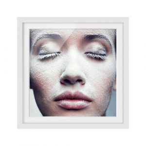 Frosty Close-Up Framed Photographic Art Print Poster East Urban Home Size: 50cm H x 50cm W, Frame Options: Matt white