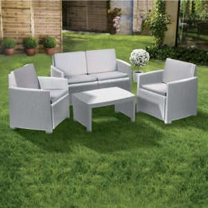 Garden Lounge Consisting Of 1 Sofa + 2 Armchairs + 1 Outdoor Table, With Cushions, Made In Italy, White Dakota Fields Colour (Frame): White, Colour (F