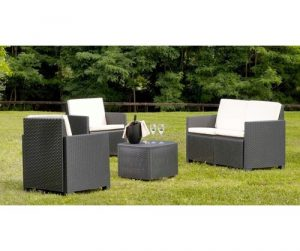 Garden Set With Cushions, 1 Sofa + 2 Armchairs (With Armrests) + 1 Outdoor Container Table, Made In Italy, Brown Dakota Fields Colour (Frame): Anthrac