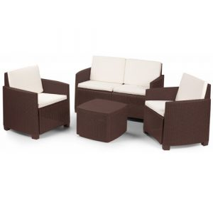 Garden Set With Cushions, 1 Sofa + 2 Armchairs (With Armrests) + 1 Outdoor Container Table, Made In Italy, Brown Dakota Fields Colour (Frame): Brown,