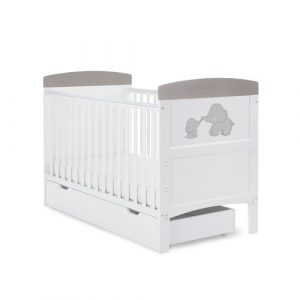 Grace Inspire Cot Bed & Underdrawer Me & Mini Me Elephants Obaby Colour: Grey