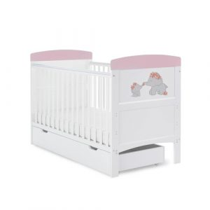 Grace Inspire Cot Bed & Underdrawer Me & Mini Me Elephants Obaby Colour: Pink