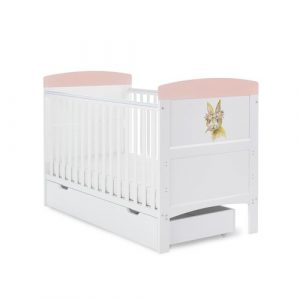 Grace Inspire Cot Bed & Underdrawer Watercolour Rabbit Obaby