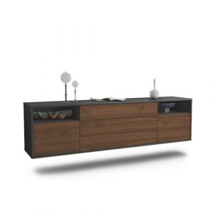 "Graf TV Stand for TVs up to 78"" Ebern Designs Colour: Black/Walnut"