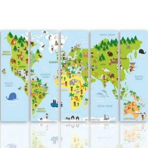 'Illustrated Map of the World' - 5 Piece Wrapped Canvas Graphic Art Print Set Feeby
