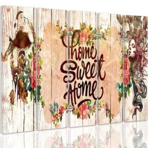 Inscription Home Sweet Home - 5 Piece Wrapped Canvas Graphic Art Print Set Feeby Size: 100 cm H x 150 cm W x 3 cm D