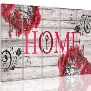 'Inscription Home with Flowers 2' - 5 Piece Wrapped Canvas Graphic Art Print Set Feeby Size: 100cm H x 150cm W x 3cm D