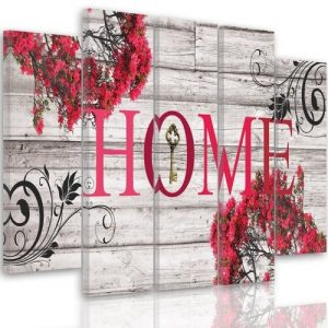 Inscription Home with Flowers ' - 5 Piece Wrapped Canvas Graphic Art Print Set Feeby