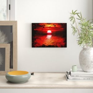 'Landscape Red Sunset' Graphic Art on Wrapped Canvas East Urban Home Size: 50cm H x 76cm W