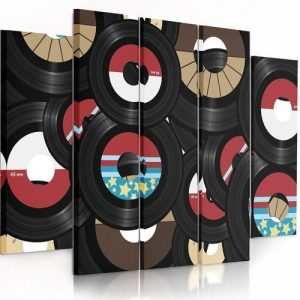 Longplays - 5 Piece Wrapped Canvas Graphic Art Print Set Feeby Size: 120cm H x 250cm W x 3cm D