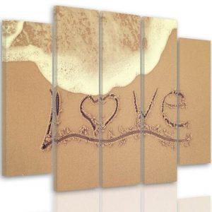 Love - 5 Piece Wrapped Canvas Graphic Art Print Set Feeby Size: 100 cm H x 150 cm W x 3 cm D
