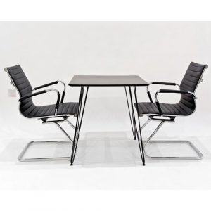 Maguire Dining Set with 2 Chairs Metro Lane Chair Colour: Black, Colour (Table Top): Black